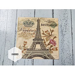A pack of 12 by 12 inch Decoupage Napkins / Decoupage Tissues (5 pcs)  - Vintage eiffel tower with flowers