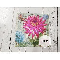 A pack of 12 by 12 inch Decoupage Napkins / Decoupage Tissues (5 pcs)  - Pop of Flowers