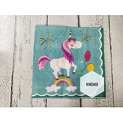 A pack of 12 by 12 inch Decoupage Napkins / Decoupage Tissues (5 pcs)  - Unicorn with blue background