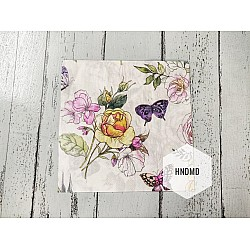 A pack of 12 by 12 inch Decoupage Napkins / Decoupage Tissues (5 pcs)  - Sketched flowers