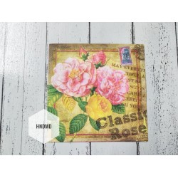 A pack of 12 by 12 inch Decoupage Napkins / Decoupage Tissues (5 pcs)  - Classic Roses