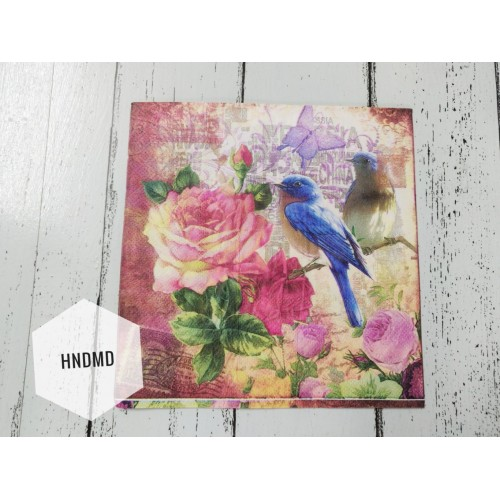 A pack of 12 by 12 inch Decoupage Napkins / Decoupage Tissues (5 pcs)  - Birds and Roses