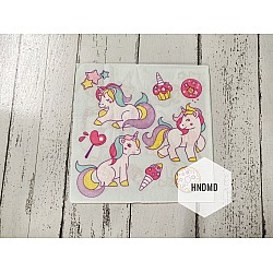 A pack of 12 by 12 inch Decoupage Napkins / Decoupage Tissues (5 pcs)  - Colorful Unicorns