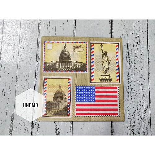 A pack of 12 by 12 inch Decoupage Napkins / Decoupage Tissues (5 pcs)  - American Monuments