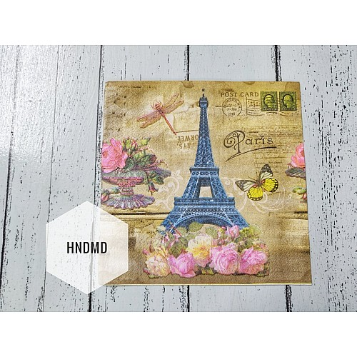 A pack of 12 by 12 inch Decoupage Napkins / Decoupage Tissues (5 pcs)  - Eiffel Tower with colorful flowers