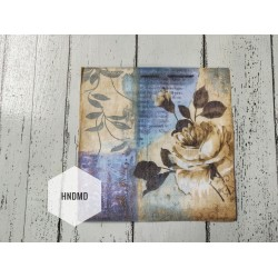 A pack of 12 by 12 inch Decoupage Napkins / Decoupage Tissues (5 pcs)  - Blue Floral Background