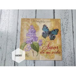 A pack of 12 by 12 inch Decoupage Napkins / Decoupage Tissues (5 pcs)  - Amor Floral Background