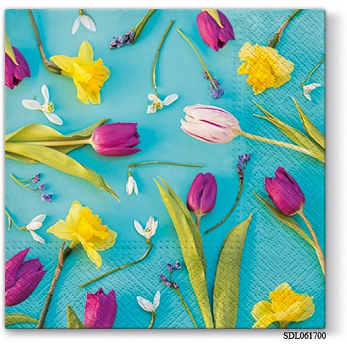 A pack of 12 by 12 inch Decoupage Napkins(5 pcs)  - Spring Composition