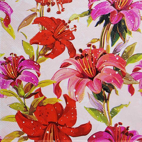 A pack of 12 by 12 inch Decoupage Napkins(5 pcs)  - Floral Design