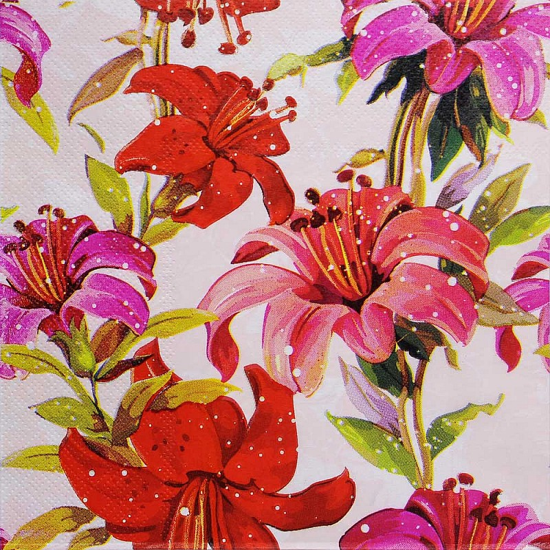 A Pack Of 12 By 12 Inch Decoupage Napkins 5 Pcs Floral Design