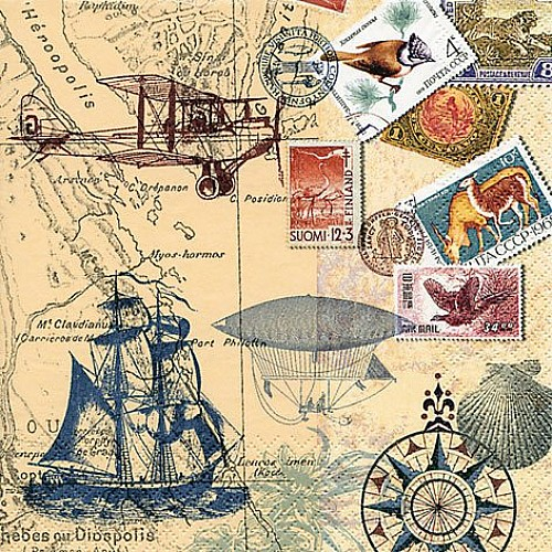 A pack of 12 by 12 inch German Decoupage Napkins ( 5 pcs )  - Around the World