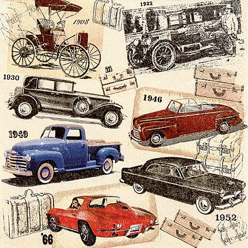 A pack of 12 by 12 inch German Decoupage Napkins ( 5 pcs )  - Classic Cars