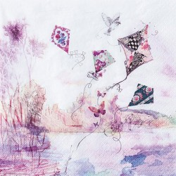 A pack of 12 by 12 inch German Decoupage Napkins ( 5 pcs )  - Abstract Kites
