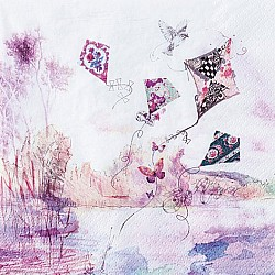 A pack of 12 by 12 inch Decoupage Napkins ( 5 pcs )  - Abstract Kites