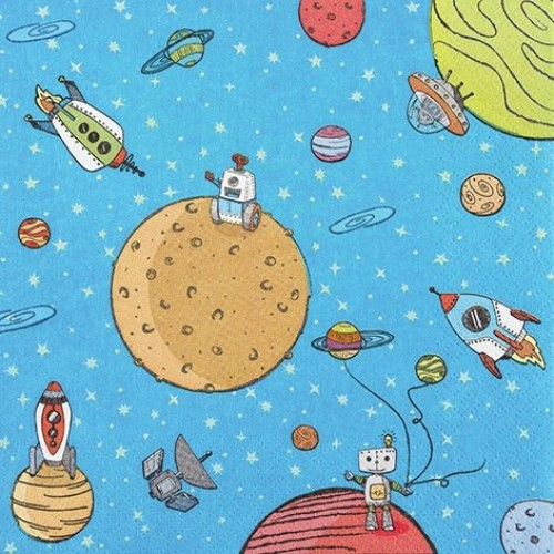 A pack of 12 by 12 inch German Decoupage Napkins ( 5 pcs )  - Up in Space