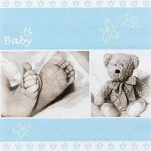 A pack of 12 by 12 inch German Decoupage Napkins ( 5 pcs )  - Sweet Baby Boy