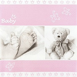 A pack of 12 by 12 inch German Decoupage Napkins ( 5 pcs )  - Sweet Baby Girl