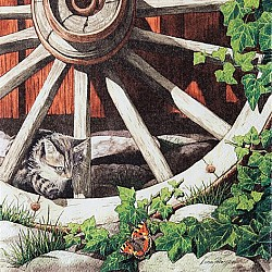 A pack of 12 by 12 inch Decoupage Napkins ( 5 pcs )  - Cat on an old Wheel