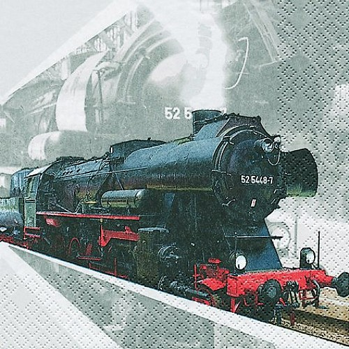 A pack of 12 by 12 inch Decoupage Napkins ( 5 pcs )  - Locomotive