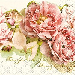 A pack of 12 by 12 inch German Decoupage Napkins ( 5 pcs )  - Mary Roses