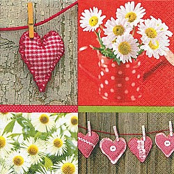 A pack of 12 by 12 inch German Decoupage Napkins ( 5 pcs )  - Hearts and Daisies