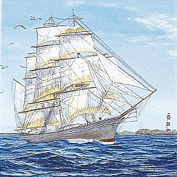 A pack of 12 by 12 inch German Decoupage Napkins ( 5 pcs )  - Sailing Ship