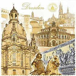 A pack of 12 by 12 inch German Decoupage Napkins ( 5 pcs )  - Dresden