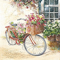 A pack of 12 by 12 inch German Decoupage Napkins ( 5 pcs )  - Flower Bike