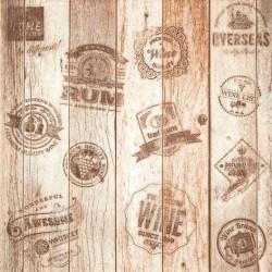 A pack of 12 by 12 inch German Decoupage Napkins ( 5 pcs )  - Oak Barrel