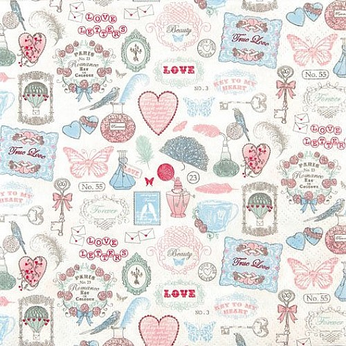 A pack of 12 by 12 inch German Decoupage Napkins ( 5 pcs )  - Love Icons