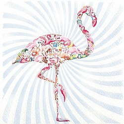 A pack of 12 by 12 inch German Decoupage Napkins ( 5 pcs )  - Flamingo