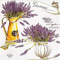 A pack of 12 by 12 inch German Decoupage Napkins ( 5 pcs )  - Provence Lavendar