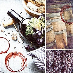 A pack of 12 by 12 inch German Decoupage Napkins ( 5 pcs )  - Red Wine
