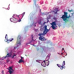 A pack of 12 by 12 inch German Decoupage Napkins ( 5 pcs )  - Dreamy Butterflies