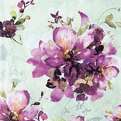 A pack of 12 by 12 inch German Decoupage Napkins ( 5 pcs )  - Purple Blooms