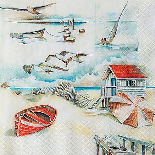 A pack of 12 by 12 inch German Decoupage Napkins ( 5 pcs )  - Sea Breeze