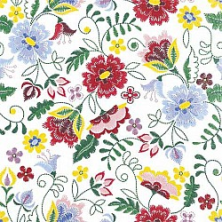 A pack of 12 by 12 inch German Decoupage Napkins ( 5 pcs )  - Stitched Flowers