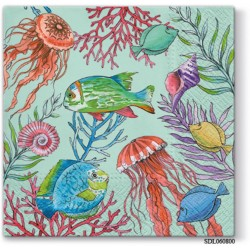 A pack of 12 by 12 inch Decoupage Napkins(5 pcs)  - Underwater (SDL060800)