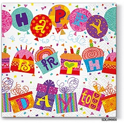 A pack of 12 by 12 inch Decoupage Napkins(5 pcs)  - Birthday (SDL096600)