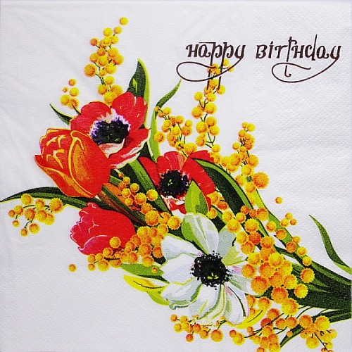 A pack of 12 by 12 inch Decoupage Napkins(5 pcs)  - Floral Design (TISSUEP30)
