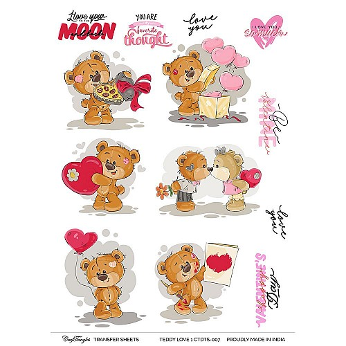 CrafTangles A4 Transfer It Sheets - Teddy Love 1
