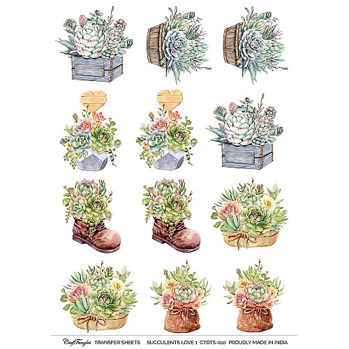 CrafTangles A4 Transfer It Sheets - Succulents Love