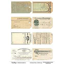 CrafTangles A4 Transfer It Sheets - Vintage Tags 1