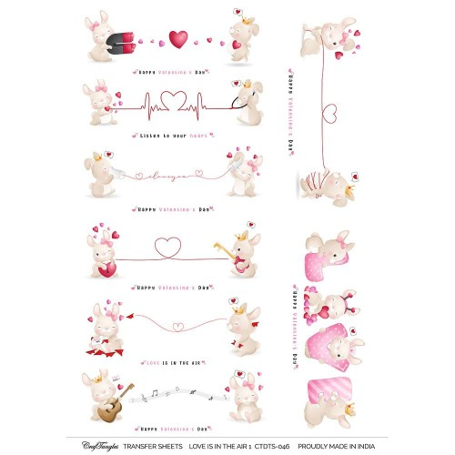 CrafTangles A4 Transfer It Sheets - Love is in the Air