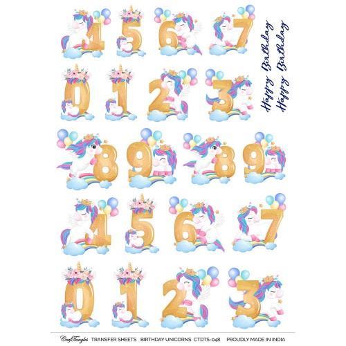 CrafTangles A4 Transfer It Sheets - Birthday Unicorns