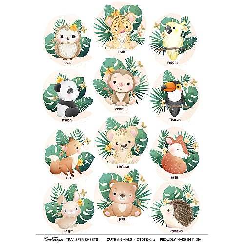 CrafTangles A4 Transfer It Sheets - Cute Animals 3