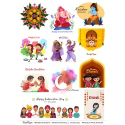 CrafTangles A4 Transfer It Sheets - Indian Festivals 1