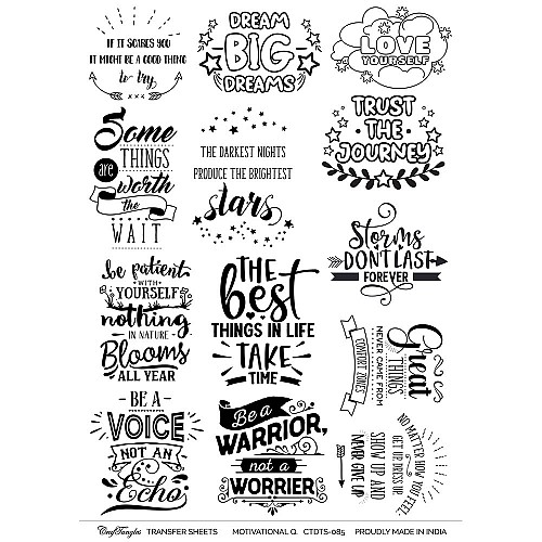 CrafTangles A4 Transfer It Sheets - Quotes - Motivational