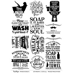 CrafTangles A4 Transfer It Sheets - Quotes - Bathroom