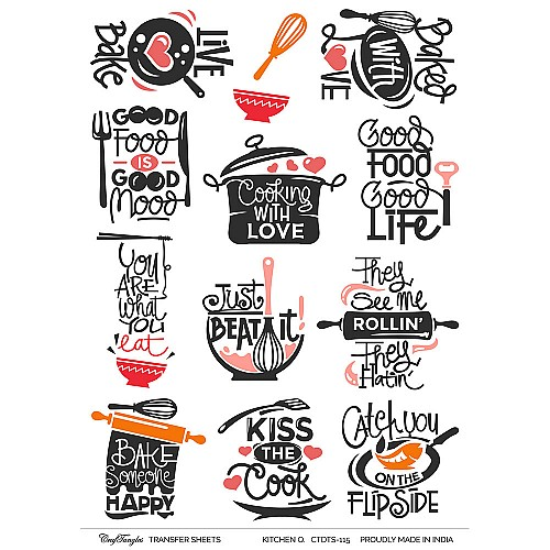 CrafTangles A4 Transfer It Sheets - Quotes - Kitchen